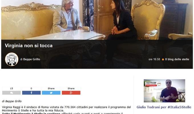 Virginia Raggi Beppe Grillo lacrime