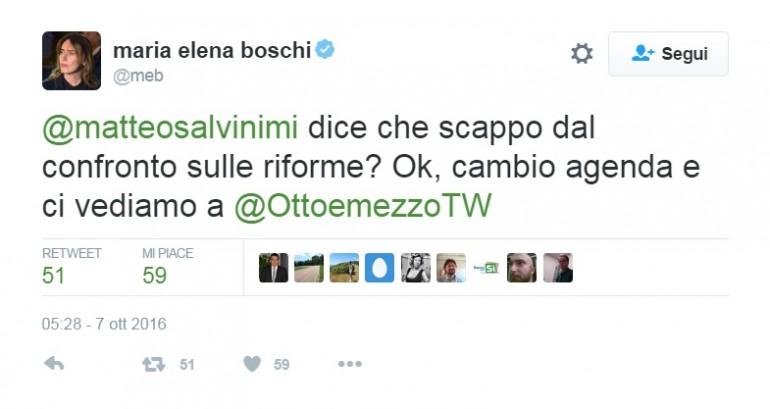 Boschi annulla confronto tv con Salvini ma poi ci ripensa
