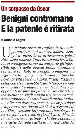Roberto Benigni patente