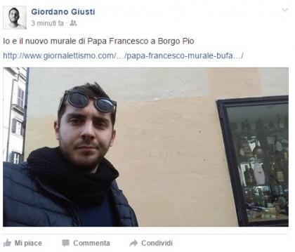 papa francesco murale bufala