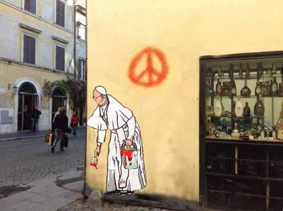 Nuovo murale Papa Francesco bufala
