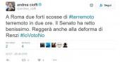 Il tweet del senatore 5 stelle Andrea Cioffi mentre l'Italia trema