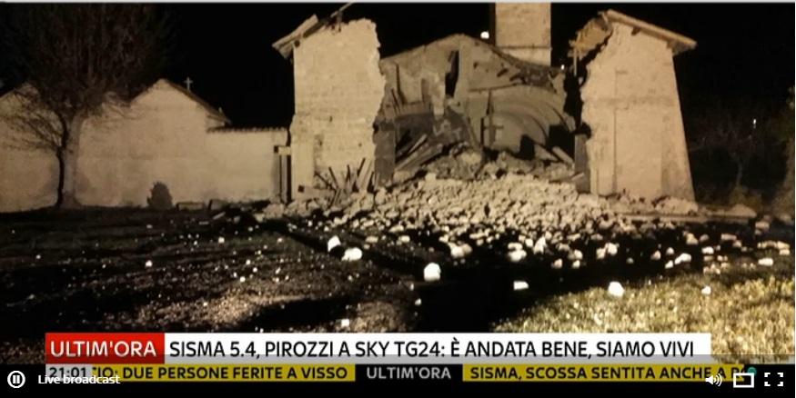 Terremoto magnitudo 5.4 nelle Marche epicentro fra Visso e Castelsantangelo sul Nera