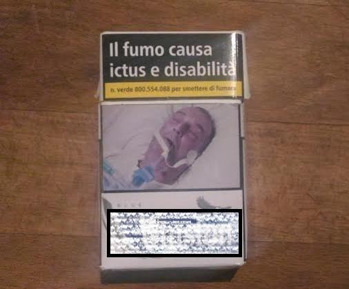 Immagine shock su un pacchetto di sigarette