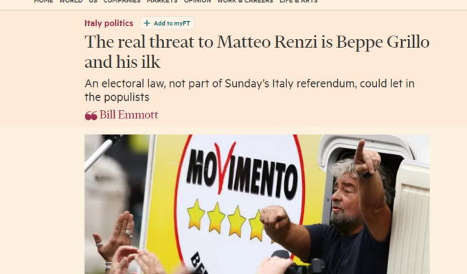 Beppe Grillo Duce Financial Times