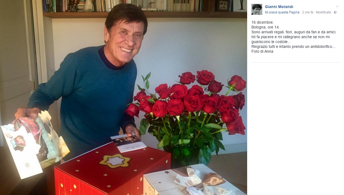 (Immagine: screenshot dalla pagina fan Facebook ufficiale di Gianni Morandi)