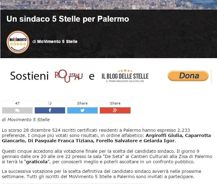M5S: la 'graticola' di Palermo conferma la spaccatura della base