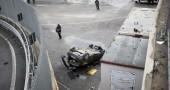Roma, auto cade giù dalla tangenziale e finisce in deposito Atac | FOTO