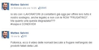 (Immagine: modifiche sul profilo Facebook di Salvini alla didascalia che accompagna il video delle rom rinchiuse a Follonica)