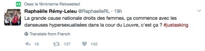 Il tweet della portavoce di Osez le féminisme contro la performance di un gruppo di ballerine ai festeggiamenti per l'elezione di Emmanuel Macron a Presidente della Repubblica francese.
