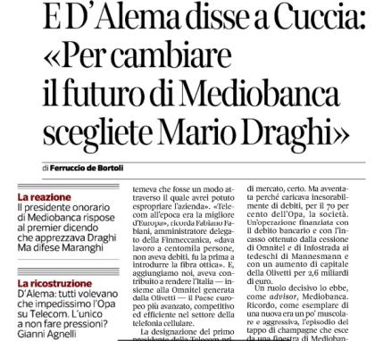 """Anticipazione di """"Poteri forti (o quasi)"""" del Corriere della Sera"""