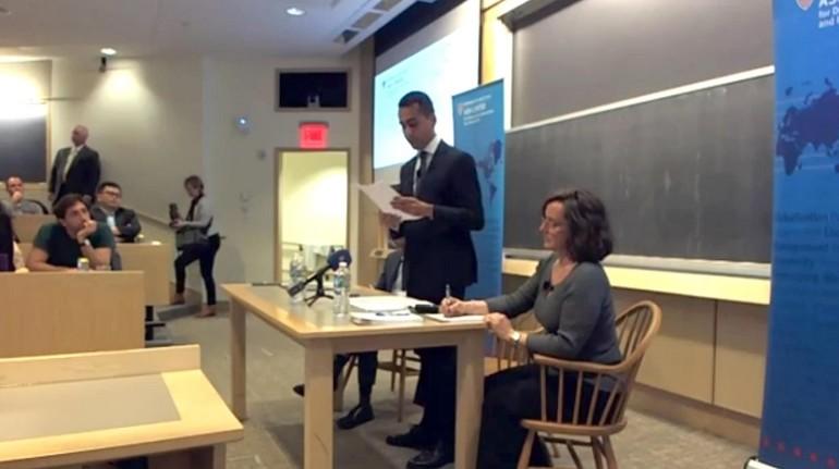 Di Maio ad Harvard: a settembre eleggeremo candidato premier M5s