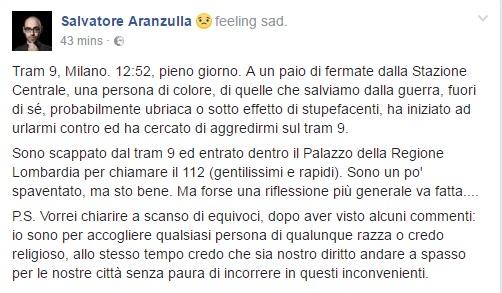 Aranzulla aggredito sul tram: