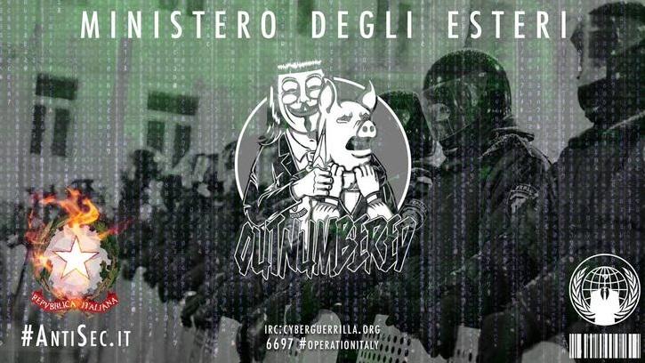 Hackerato il ministero degli Esteri. Anonymous: