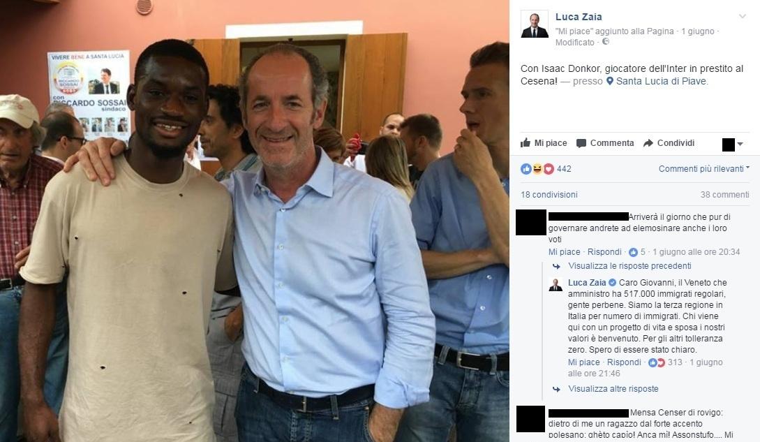 Zaia, foto su Facebook con calciatore di colore: insulti nei commenti