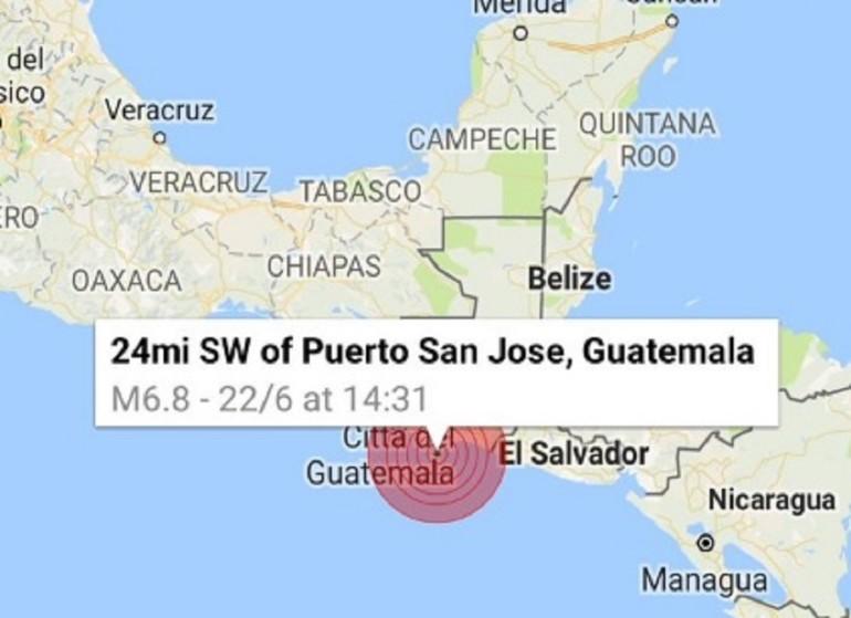 Guatemala, è ancora paura per il terremoto: nuova scossa di magnitudo 6.8