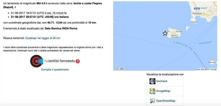 Terremoto Ischia magnitudo