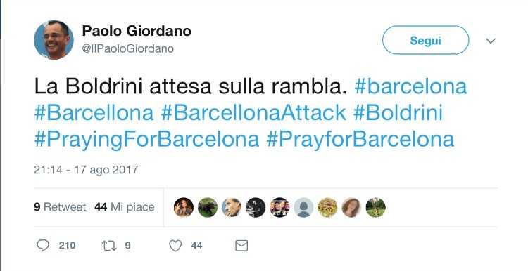Paolo Giordano Boldrini sulla Rambla
