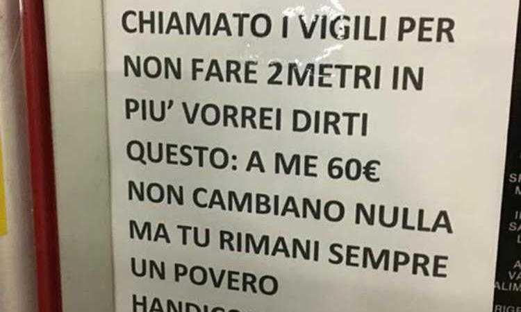 autore del cartello contro un disabile