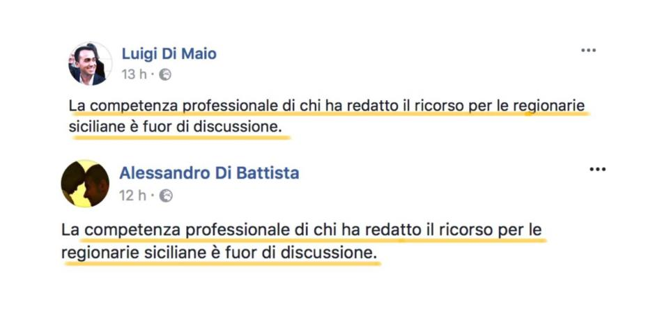 Di Maio Di Battista post uguale