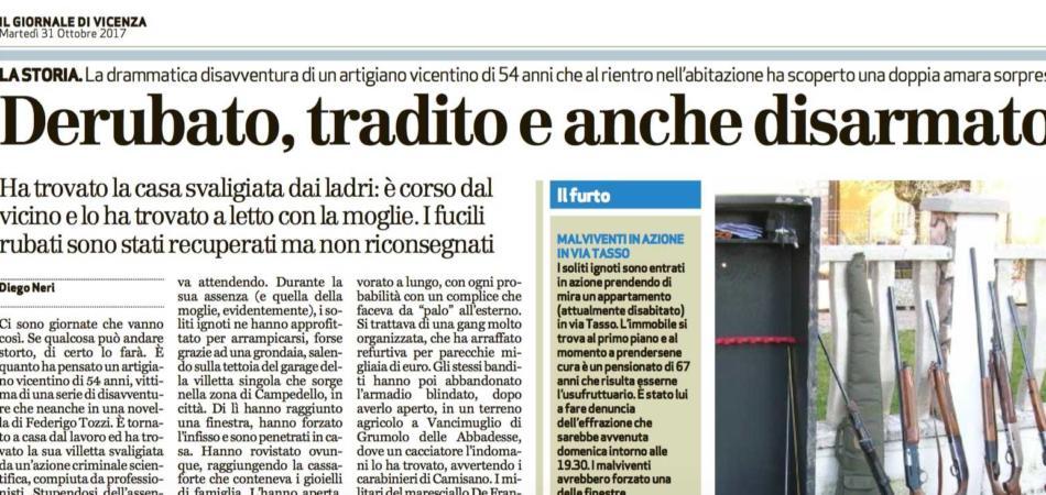 artigiano Vicenza derubato tradito