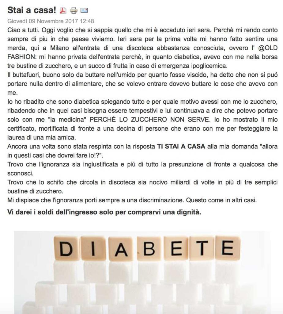 A diabetica, negato l'accesso in discoteca