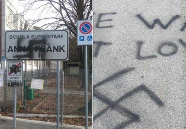 svastica scuola Anna Frank