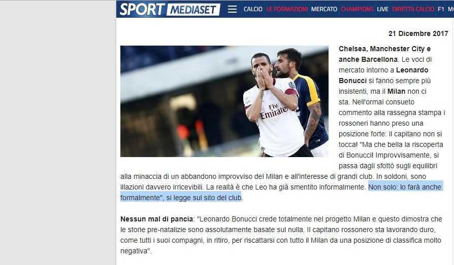 Milan-Atalanta, Abbiati: ''Il ritiro è già finito. Bonucci? Quante falsità...''