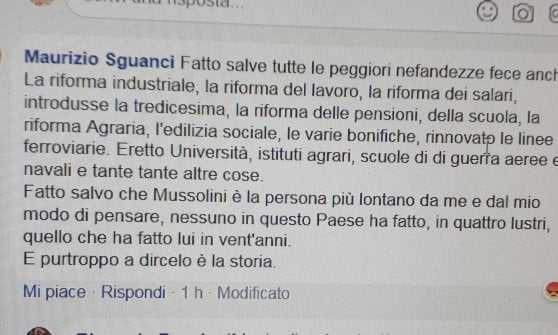 Un esponente del PD su facebook: 'Mussolini ha fatto tanto', lo massacrano