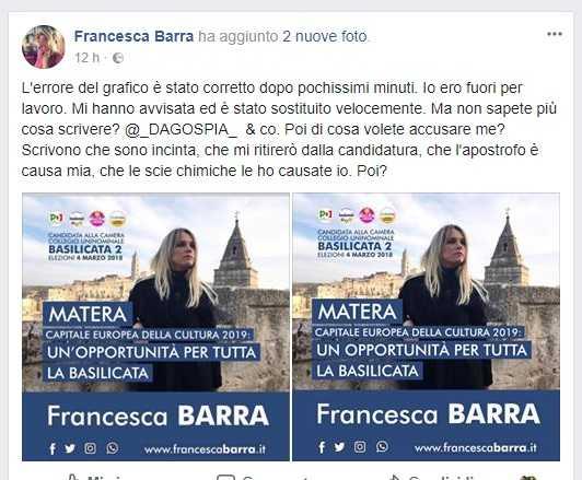 Francesca Barra, il manifesto elettorale sulla cultura con un grave errore grammaticale