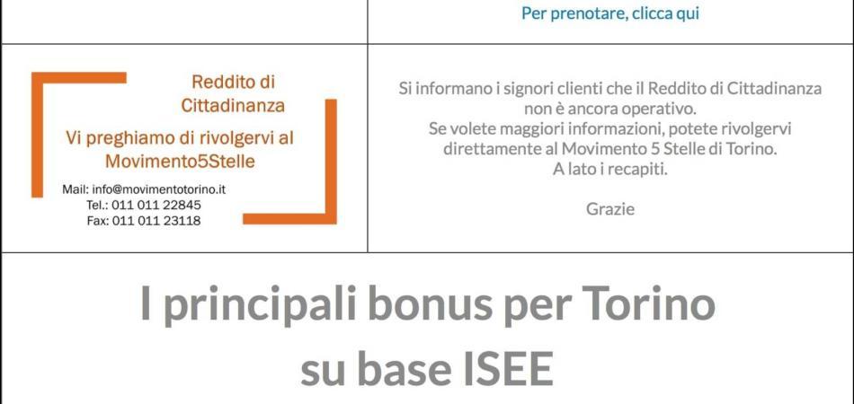 reddito cittadinanza Caf Torino